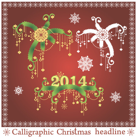 Set of Christmas headlines on red background. Vector illustration. Vector