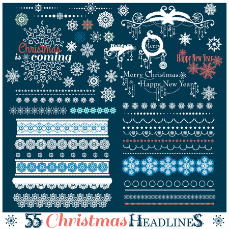 Christmas set of Borders with Snowflakes. Vector illustration.