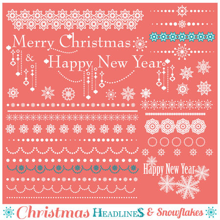 scalloped: Christmas set of Borders with Snowflakes. Vector illustration.