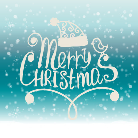 merry: Merry Christmas. Frame on snow Background. Vector illustration.