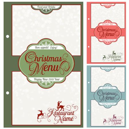 main dishes: Special Christmas festive menu design. Vector illustration.