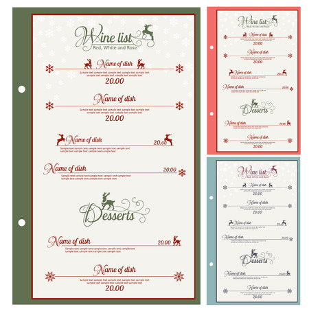 Special Christmas festive menu design. Vector illustration. Vector