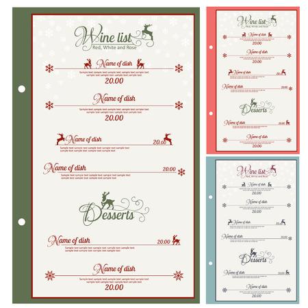 christmas list: Special Christmas festive menu design. Vector illustration.