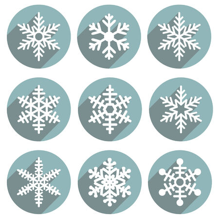 Set of flat colored simple winter snowflakes. Vector illustration. Stock Illustratie