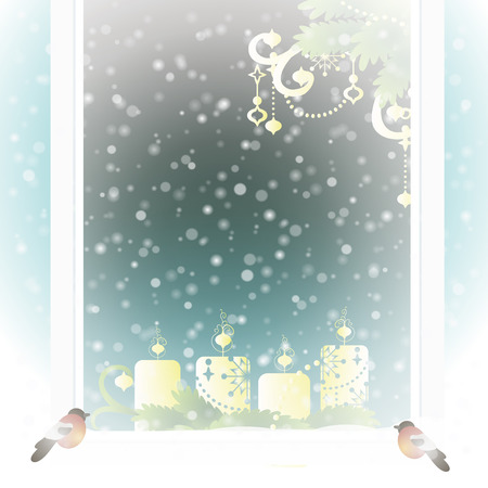 frosted: Frosted window with Christmas decoration. Vector illustration. Illustration