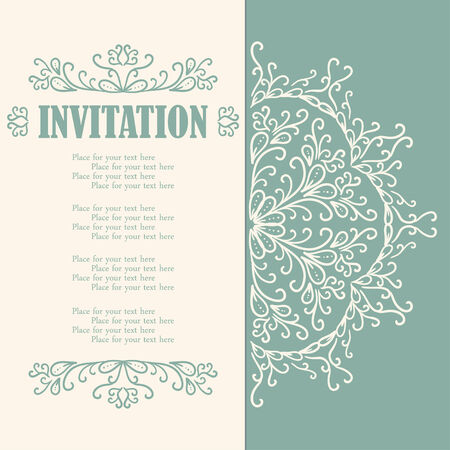 Vintage invitation card with lace ornament. Vector illustration Vector