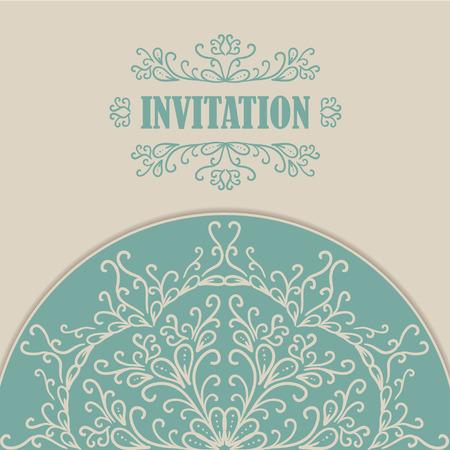 invitaci�n vintage: Tarjeta de invitaci�n de la vendimia con el ornamento del cord�n. Ilustraci�n vectorial Vectores