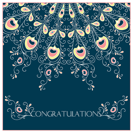 Vector vintage card with floral ornament design. Congratulations
