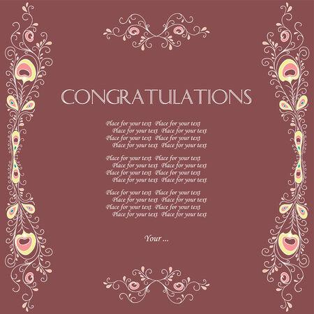 Vector vintage card with floral ornament design. Congratulations