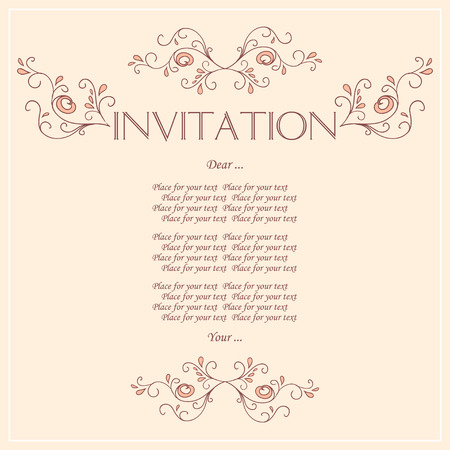 Beautiful Invitation card with pattern of peacock feathers. Vector Illustration. Vector