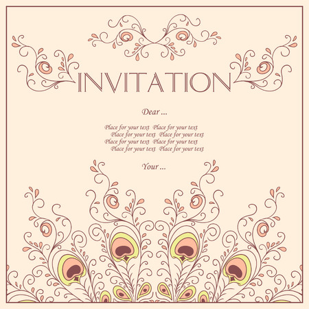 Beautiful Invitation card with pattern of peacock feathers. Vector Illustration.