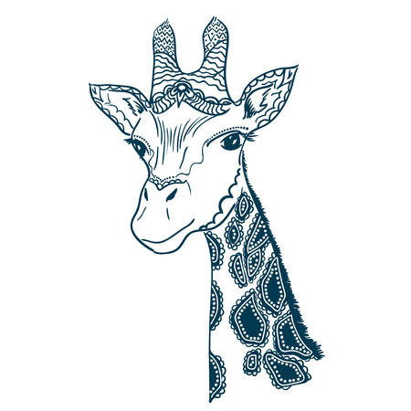 jirafa fondo blanco: Ilustración del vector con cabeza de jirafa de la vendimia aislado en el fondo blanco Vectores