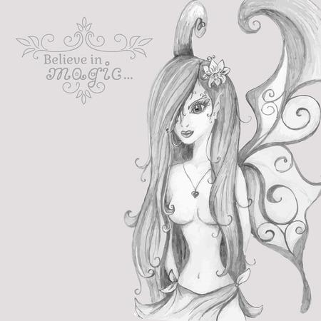 Believe in Magic. Hand drawn fairy. Vector illustration. Vector