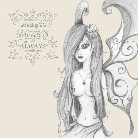 pixy: Believe in Magic. Hand drawn fairy. Vector illustration. Illustration