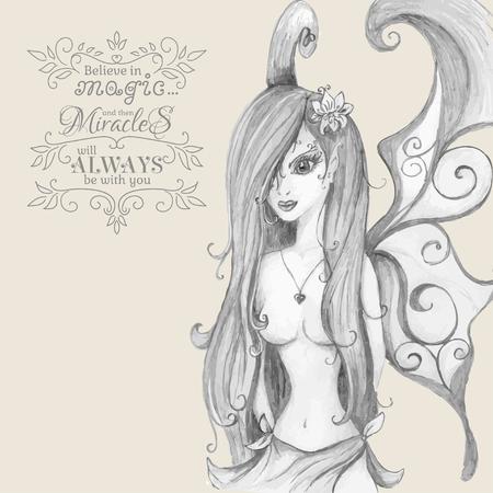sexy angel: Believe in Magic. Hand drawn fairy. Vector illustration. Illustration