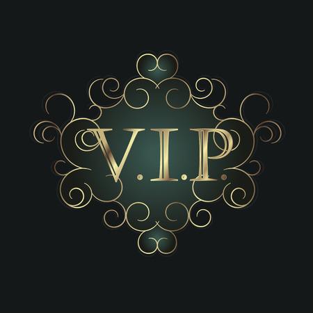 vip symbol: S�mbolo Vip en marco de la voluta. Ilustraci�n vectorial