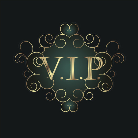 Vip symbol in scroll frame. Vector illustration Stock Illustratie