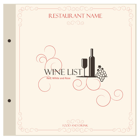 vineyard sunset: Restaurant vintage menu design template - vector illustration
