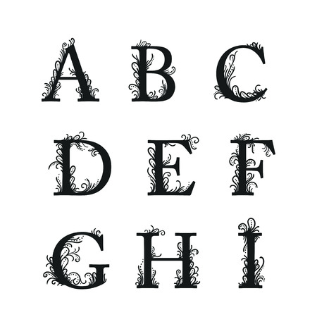 Set of Isolated stylized calligraphic illustrations. ABC Stock Illustratie