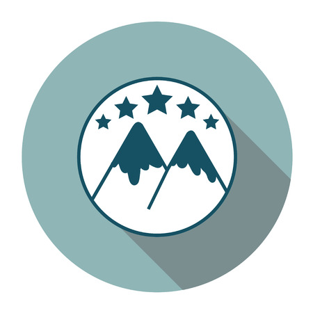 Flat snowboarding text with mountains. Vector illustration.