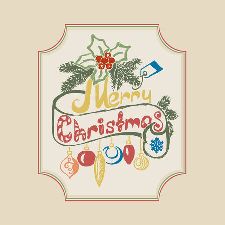 Hand draw Merry Christmas frame background. Vector illustration. Vector