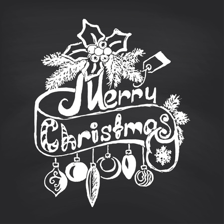 Merry Christmas on blackboard background. Vector illustration. Vector