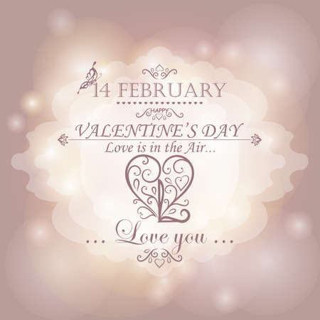 elite: Magical background with colorful lights and calligraphic heart. Happy Valentines Day.
