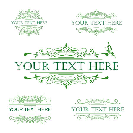 decorative border: Vector set of calligraphic vintage design elements.