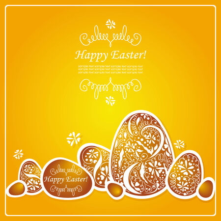 Card with Easter eggs pattern. Vector illustration. Vector