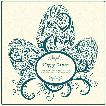 Happy Easter card or frame.  Vector