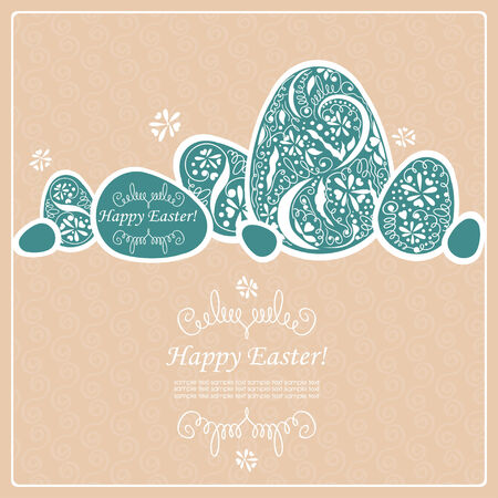 Card with Easter eggs pattern. Vector
