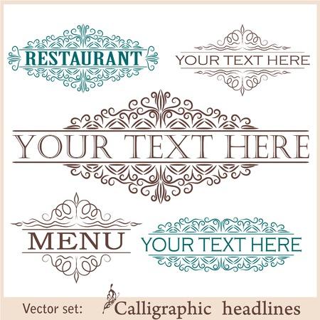 foliate: set of calligraphic vintage design elements. Illustration
