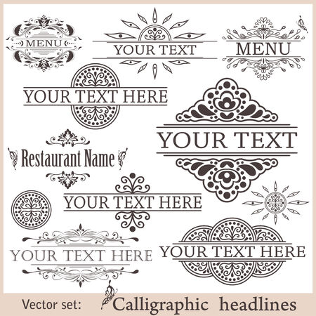 with sets of elements: set of calligraphic vintage design elements. Illustration