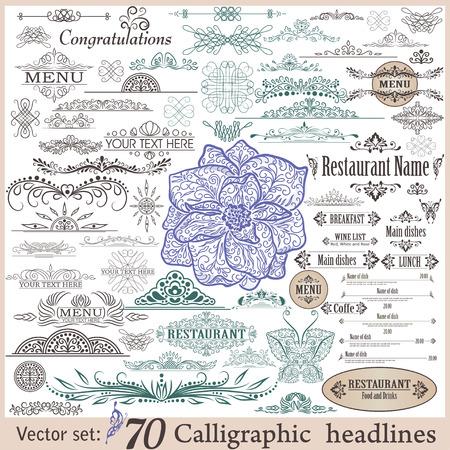 Conjunto de elementos caligráficos de diseño vintage. Foto de archivo - 35567077