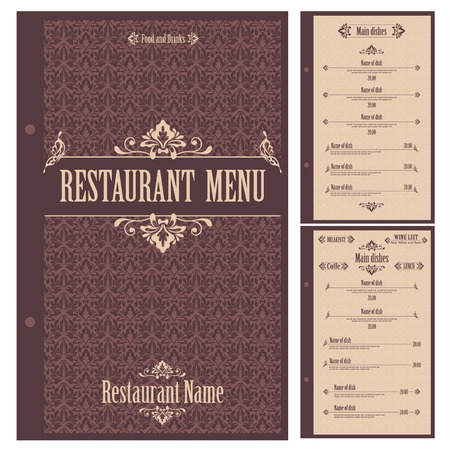menu de postres: Restaurante plantilla de dise�o de men� - ilustraci�n vectorial