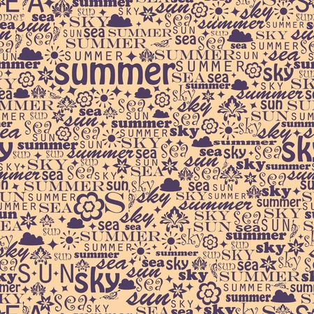 relate: Abstract colorful image made from words which relate with summer and holiday