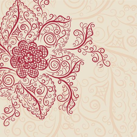 wishes romantic: Invitation vintage card with floral elements. Vector illustration Illustration