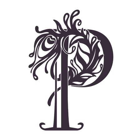 Artistically drawn, stylized, logo, vector peacock feather and P Stock Illustratie