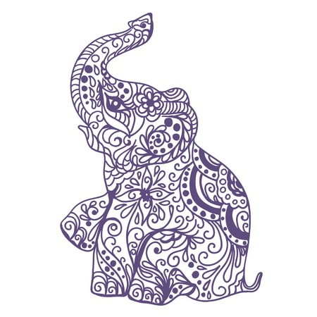indianische muster: Einladung Vintage-Karte mit Elefanten. Vektor-Illustration