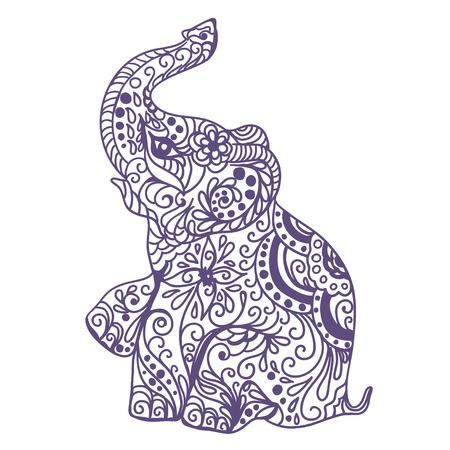 silhouettes elephants: Vintage tarjeta de invitaci�n con el elefante. Ilustraci�n vectorial