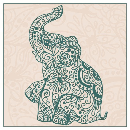 flowers silhouette: Invitation vintage card with elephant. Vector illustration