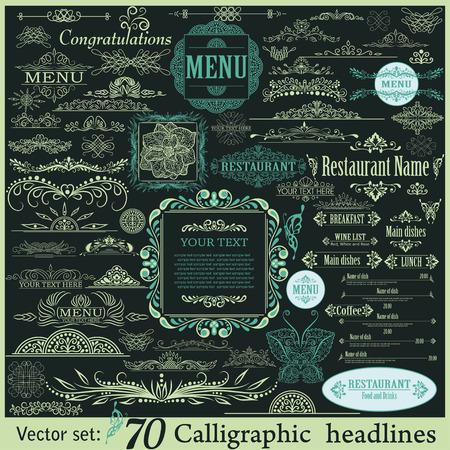Vector conjunto de elementos caligráficos de diseño vintage