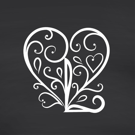 every day: Calligraphic Love you. Blackboard background. Vector illustration