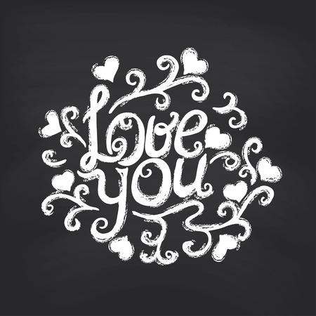 te negro: Caligr�fica que amas. Fondo de la pizarra. Ilustraci�n vectorial