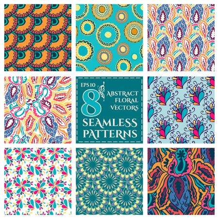 Set of Seamless with abstract colorful floral patterns. Vector illustration Vector