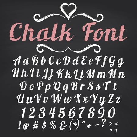alphabet graffiti: Vector alfabeto. Mano disegnato lettere. Carattere gesso su sfondo lavagna Vettoriali