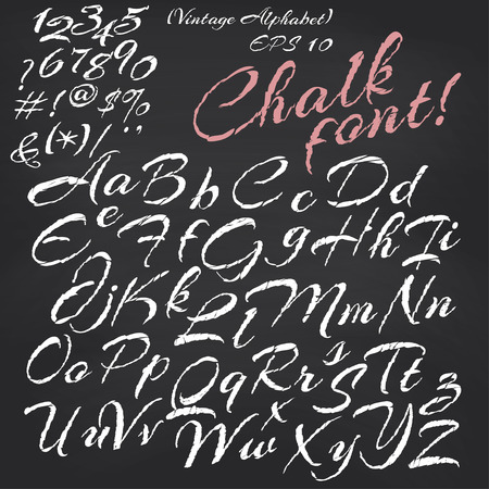 Vector alphabet. Hand drawn letters. Chalk font on blackboard background