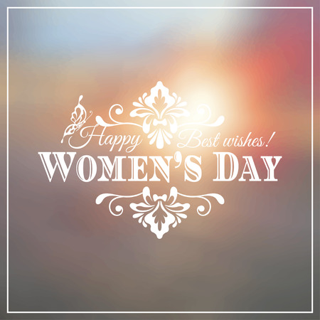Happy Womens Day. 8 March  on unfocused floral background. Vector illustration