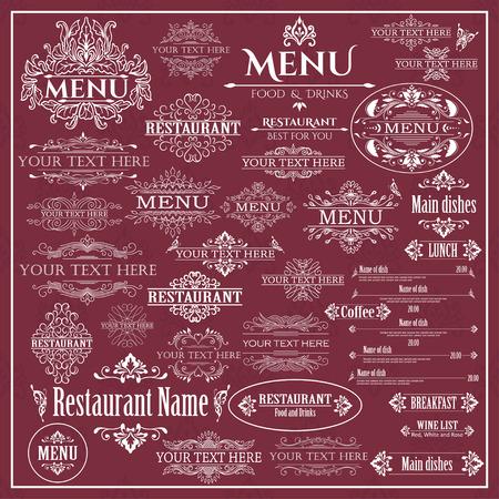 Vector set of calligraphic design elements for Restaurant Menu. Vector illustration Vector