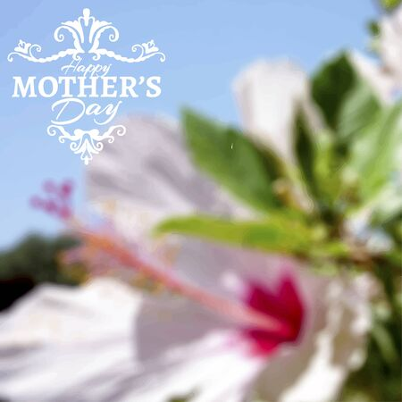 blurry: Happy Mothers Day lettering on blurry floral background. Vector illustration Stock Photo